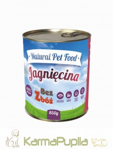 Natural Pet Food  Grain Free Jagnięcina 100% mięsa 850g