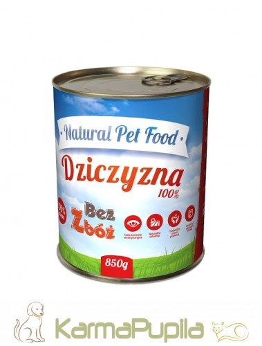 Natural Pet Food Grain Free Dziczyzna 100% mięsa 850g
